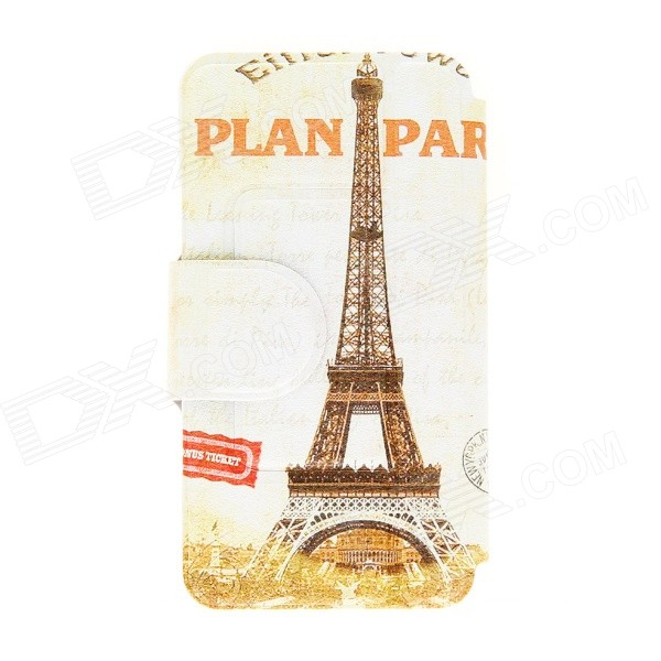 Torre Eiffel Kinston Pattern PU Custodia in pelle corpo completo con supporto per HTC One Mini M4