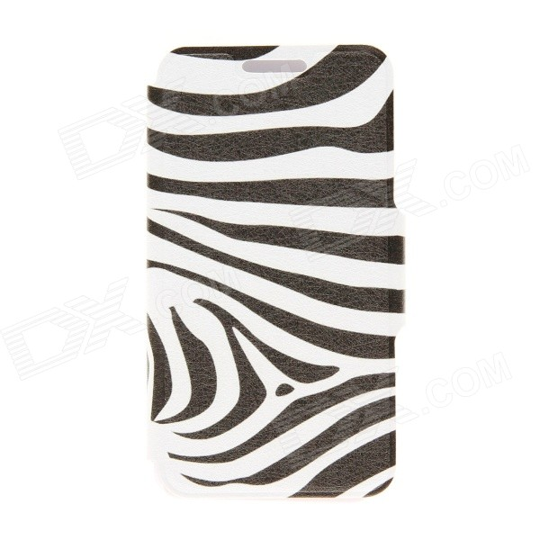 Kinston Zebra Pattern PU Leather Full Body Case with Stand for HTC One Mini M4 - White + Black lichee pattern protective pu leather case stand w card slot for samsung galaxy s3 i9300 black