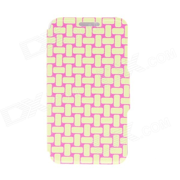 Kinston Knitting Color Pattern PU Protective Leather Flip Open Case w/ Stand for HTC One Mini M4 protective plastic back case for htc one mini m4 pink