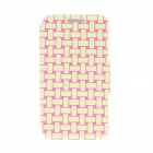 Kinston Knitting Color Pattern PU Protective Leather Flip Open Case w/ Stand for HTC One Mini M4