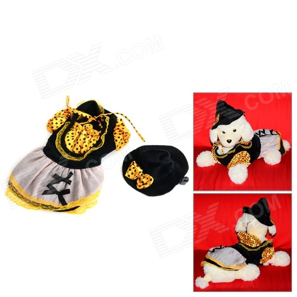 Halloween Witch Style Cotton Coat + Cap Suit for Pet Cat / Dog - Black + Yellow (Size L) love letter pattern cotton coat hoody for pet dog cat deep pink
