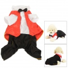 Halloween Vampire Style Autumn / Winter Cotton Coat for Pet Cat / Dog - White + Black (S)