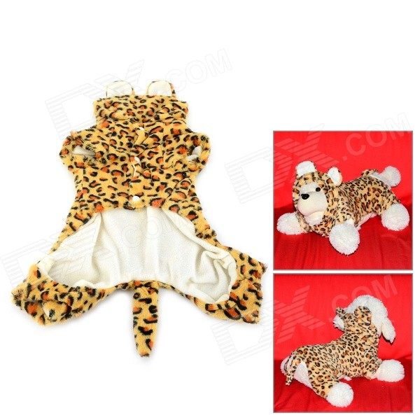 Leopard Pattern Halloween Cotton Coat for Pet Cat / Dog - Yellow + Brown (Size S) pet carrier bag for cat dog medium size brown