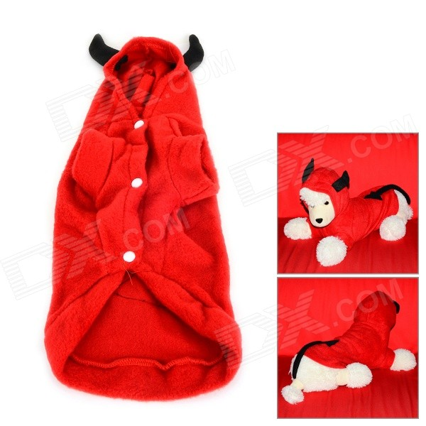 JUQI Devil Style Autumn / Winter Wear Cotton Coat for Pet Cat / Dog - Red + Black (Size S)