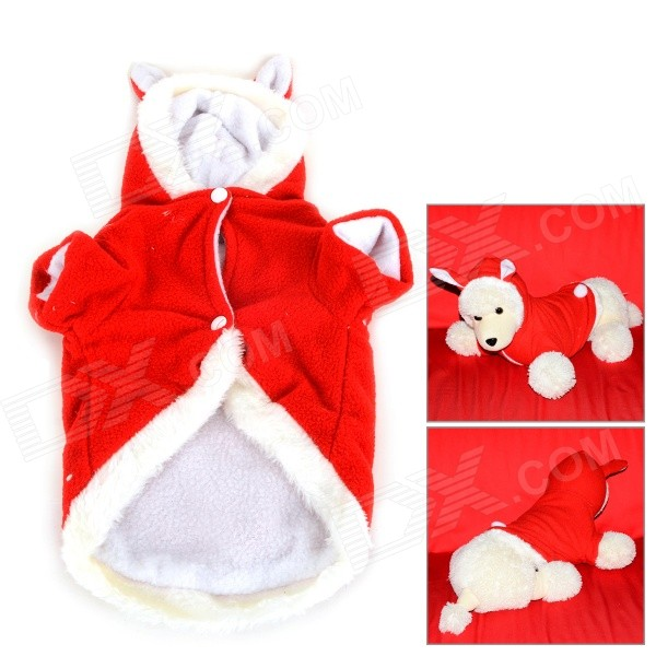 JUQI Rabbit Style Winter Wear Cotton Coat Clothes for Pet Dog / Cat - Red + White (Size M)