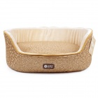 YDL-WA4005-M Fashionable Leather Style Nest Bed for Pet Cat / Dog - Gold + Rice White (Size M)