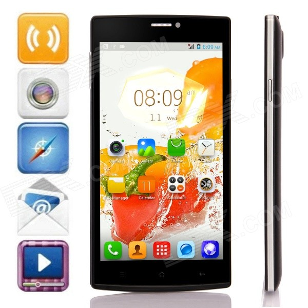 002 MTK6572 Dual-Core Android 4.2.2 WCDMA Bar Phone w/ 5.5, 4GB ROM, GPS, FM - Black jiake f1w 5 0inch capacitive touch screen mtk6572 dual core 1 2ghz smartphone 512mb 4gb 2 0mp 0 3mp android 4 2 os 3g gps with protective case black