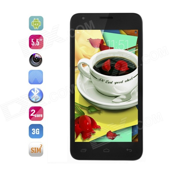 CATEE CT550 MTK6572 Dual Core Android 4.2 WCDMA Phone w/ 5.5 IPS, GPS, WIFI, 4GB ROM - Black jiake f1w 5 0inch capacitive touch screen mtk6572 dual core 1 2ghz smartphone 512mb 4gb 2 0mp 0 3mp android 4 2 os 3g gps with protective case black