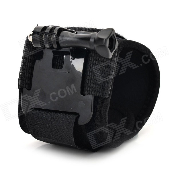 GP116 Plastic + Nylon Mount Wrist Band w/ Screw for GoPro Hero 3+ / 3 / 2 / 1 - Black