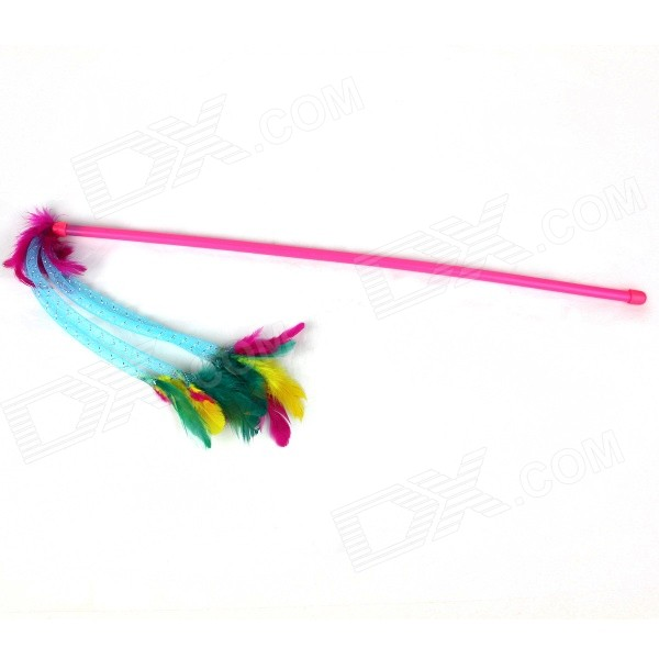 Feathers Style Cute Plastic Cat Stick Rod - Pink + Yellow