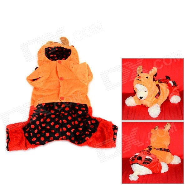 Halloween David's Deer Style Autumn / Winter Cotton Coat for Pet Cat / Dog - Orange + Red (M) dinosaur cosplay coat clothes for pet cat dog pink size m