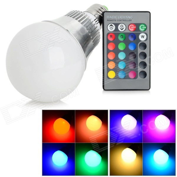 RGB-10 E27 10W 50lm 2000K LED RGB Light Bulb w/ Remote Control - Silver + White (AC 85~265V) jr led e27 10w 500lm led rgb light bulb w remote control white silver ac 85 265v