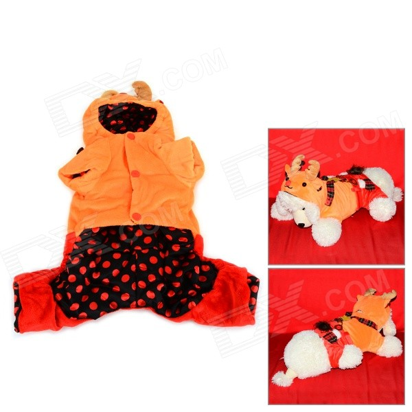 Halloween David's Deer Style Autumn / Winter Cotton Coat for Pet Cat / Dog - Orange + Red (S) sharing is caring