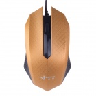 JM-319 Stylish Checked Pattern USB 2.0 Wired 1200 dpi Gaming Mouse - Golden