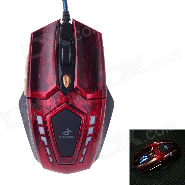 JM-1906 USB 2.0 Wired 800 / 1200 / 1600dpi Gaming Mouse w/ Blue Light - Red + Black
