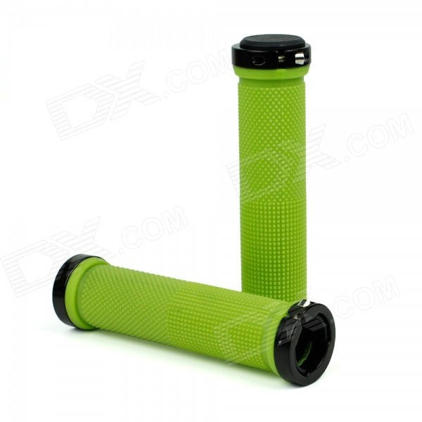 Aluminum Alloy + Rubber Bike Bicycle Handlebar Grip Covers - Green (2pcs) aluminum alloy rubber bike bicycle handlebar grip covers blue 2pcs