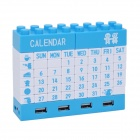 DIY Building Blocks Puzzle Calendar with 4 Ports USB Hub - Blue + White