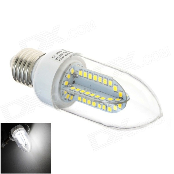 HONSCO E27 5W 400lm 6000K 84-SMD 2835 LED White Light Candle Bulb - White + Silver (AC 85~265V) e27 9w 760lm 6000k 30 smd 2835 led white light bulb ac 85 265v