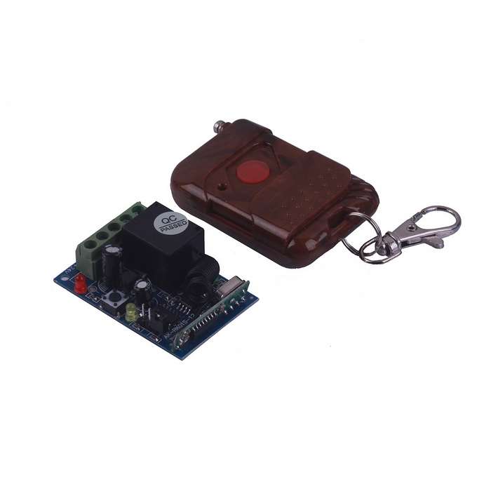 ZnDiy-BRY RF DC12V 1-CH Learning Code Remote Control Switch w/ Controller - Brown zndiy bry rf dc12v 1 ch learning code remote control switch w controller black