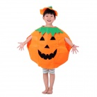 Halloween Party Show Costume Children's Pumpkin Clothes Hat Suit - Orange + Green + Black (L)