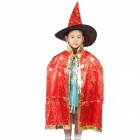 Halloween Costume Dress Up Hexagram Patterned Witch Cloak w/ Hat for Children - Red + Black (L)