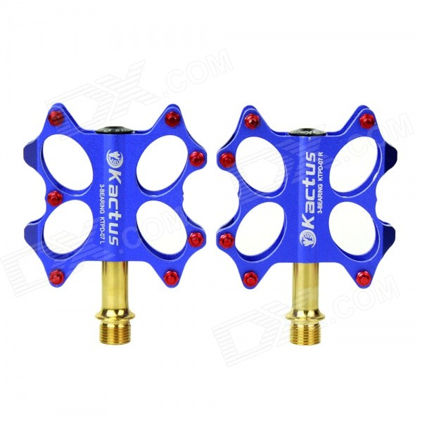 KACTUS 07B Bike Bicycle Stainless Steel Pedals - Blue (Pair) mtb mountain road dh fr bmx fixed gear cycling bicycle bike pedal 9 16 in titanium axle alloy body 3 sealed bearing 100 95 17mm