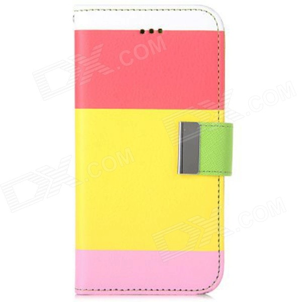 "Joint Color PU Leather Flip Case w/ Auto Sleep + Stand + Card Slot for IPHONE 6 4.7"" - Yellow + Red"