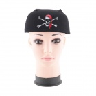 Halloween Costume Party Props Red Skull Pirate Hat - Black