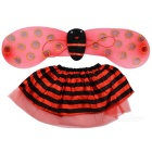Halloween Costume Makeup Props Ladybird Skirt + Wings + Headband  + Stick Set - Red + Black