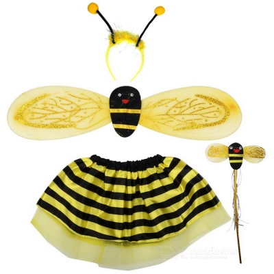 Halloween Costume Makeup Props Bee Skirt + Wings + Headband  + Stick Set - Yellow + Black