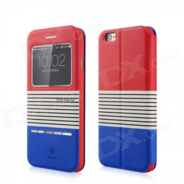 Baseus Eden Leather Case w/ Auto Sleep for IPHONE 6 4.7 - Red + Blue напольный вентилятор eden edj 1622
