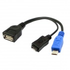 CY U2-266-BK Micro USB 2.0 OTG Host Flash Disk Cable with Micro Power for Samsung Galaxy S3 S4 i9500