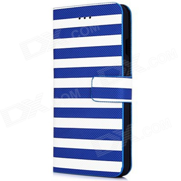 Stripe Pattern PU Leather Flip Case w/ Auto Sleep + Stand + Card Slot for IPHONE 6 4.7 - Blue stand leather case for iphone 6 plus 6s plus 5 5 inch with card slot dark blue