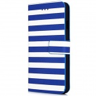 "Stripe Pattern PU Leather Flip Case w/ Auto Sleep + Stand + Card Slot for IPHONE 6 4.7"" - Blue"
