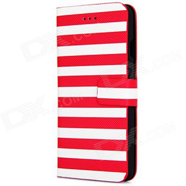Stripe Pattern PU Leather Flip Case w/ Auto Sleep + Stand + Card Slot for IPHONE 6 4.7 - Red retro flip cover pu leather case w card slot and stand for iphone 6 4 7 wine red
