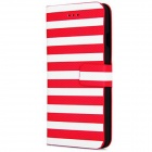"Stripe Pattern PU Leather Flip Case w/ Auto Sleep + Stand + Card Slot for IPHONE 6 4.7"" - Red"
