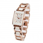 OUDYS Women's Rectangle Dial Zinc Alloy Analog Quartz Wrist Watch - Rose Golden + White (1 x 377)