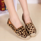 Stylish Leopard Pattern Horse Hair + Hemp Rope Flat Fisherman Shoes - Coffee (Pair / 38)