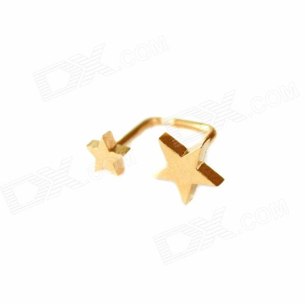 ME-009 Stainless Steel Double Stars Stud Earrings - Golden (Pair)