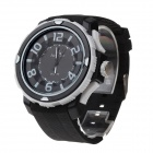 Super Speed V6 V0221 Men's Arabic Numbers Dial Silicone Band Quartz Analog Wrist Watch - Black