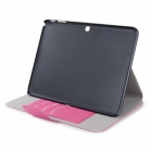 "Flip-åpen PU + PC Case med Holder + -kortspor for Samsung Galaxy Tab 4 T530 10,1""- dyp rosa"