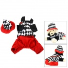 Halloween Magician Style Cotton Coat + Cap Suit for Pet Cat / Dog - White + Black (S)