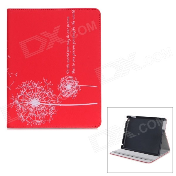 Dandelion Pattern Protective PU Leather Case w/ Holder for IPAD 2 / THE NEW IPAD - Red new brand 2015 pu sd112