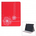 Dandelion Pattern Protective PU Leather Case w/ Holder for IPAD 2 / THE NEW IPAD - Red