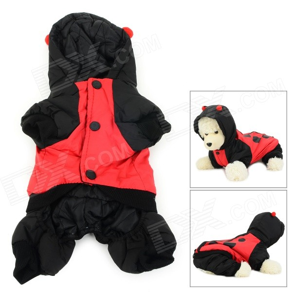 Halloween Ladybug Style Cotton Coat for Pet Cat / Dog - Black + Red (S) love letter pattern cotton coat hoody for pet dog cat deep pink