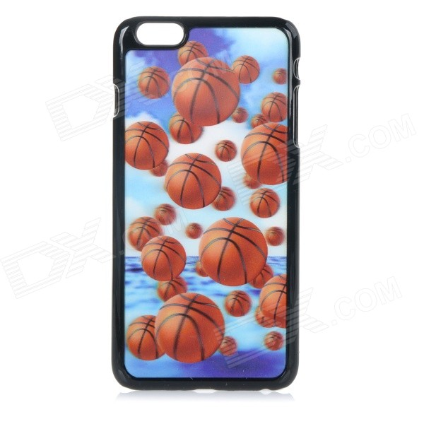 3D Basketball Patterned Protective PC + PVT Back Case Cover for IPHONE 6 PLUS 5.5 - Black + Orange protective crystal pearl w crystalplastic back case for iphone 4 4s silver white