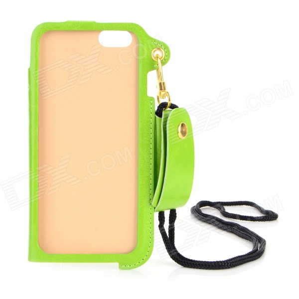 Protective PU Case w/ Strap / Card Slot / Stand for IPHONE 6 4.7 - Green angibabe matte protective pu case w stand card slot for iphone 6 4 7 black