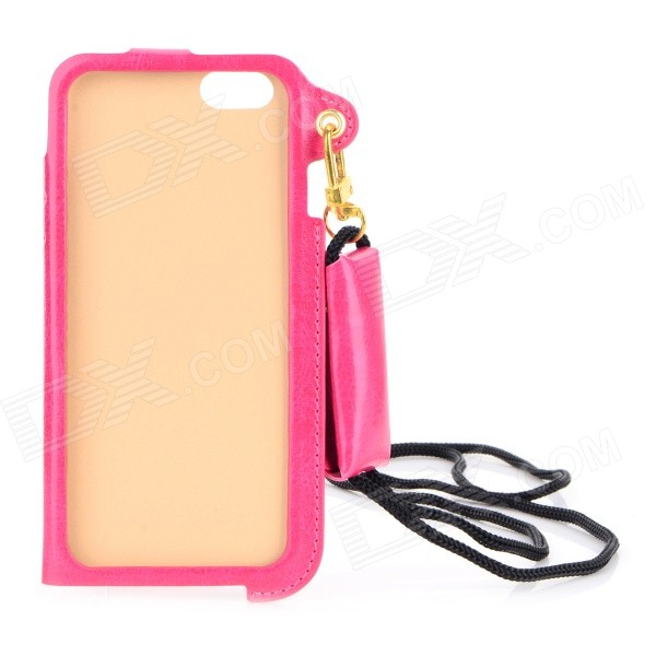 Protective PU Case w/ Strap / Card Slot / Stand for IPHONE 6 4.7 - Deep Pink