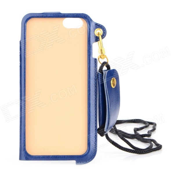 "Protective PU Case w/ Strap / Card Slot / Stand for IPHONE 6 4.7"" - Deep Blue"