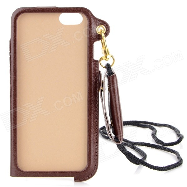 "Protective PU Case w/ Strap / Card Slot / Stand for IPHONE 6 / 6S 4.7"" - Brown"